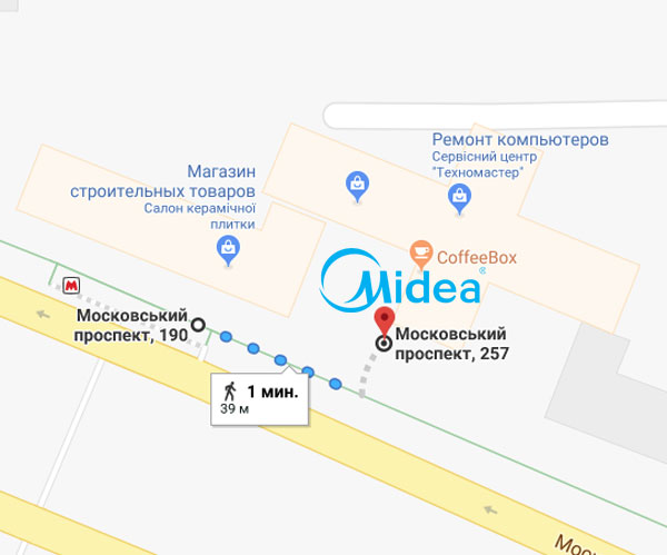 Схема прохода от метро Палац спорту. Кондиционеры MIDEA Харьков